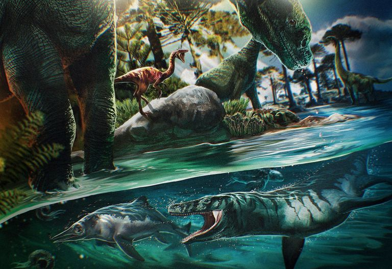Artistic rendition of dinosaurs 125 million years ago