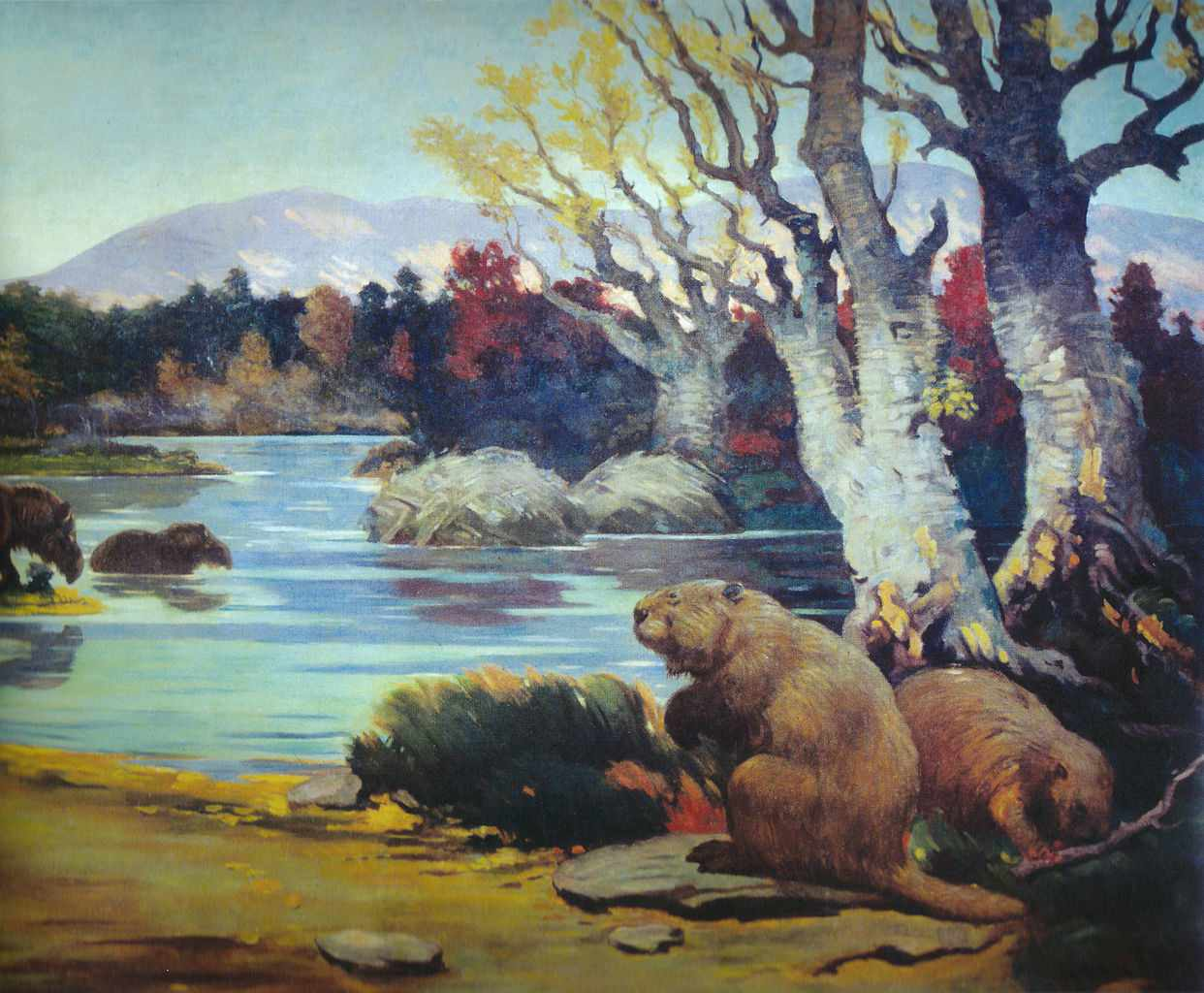 A painting with giant beavers along the water