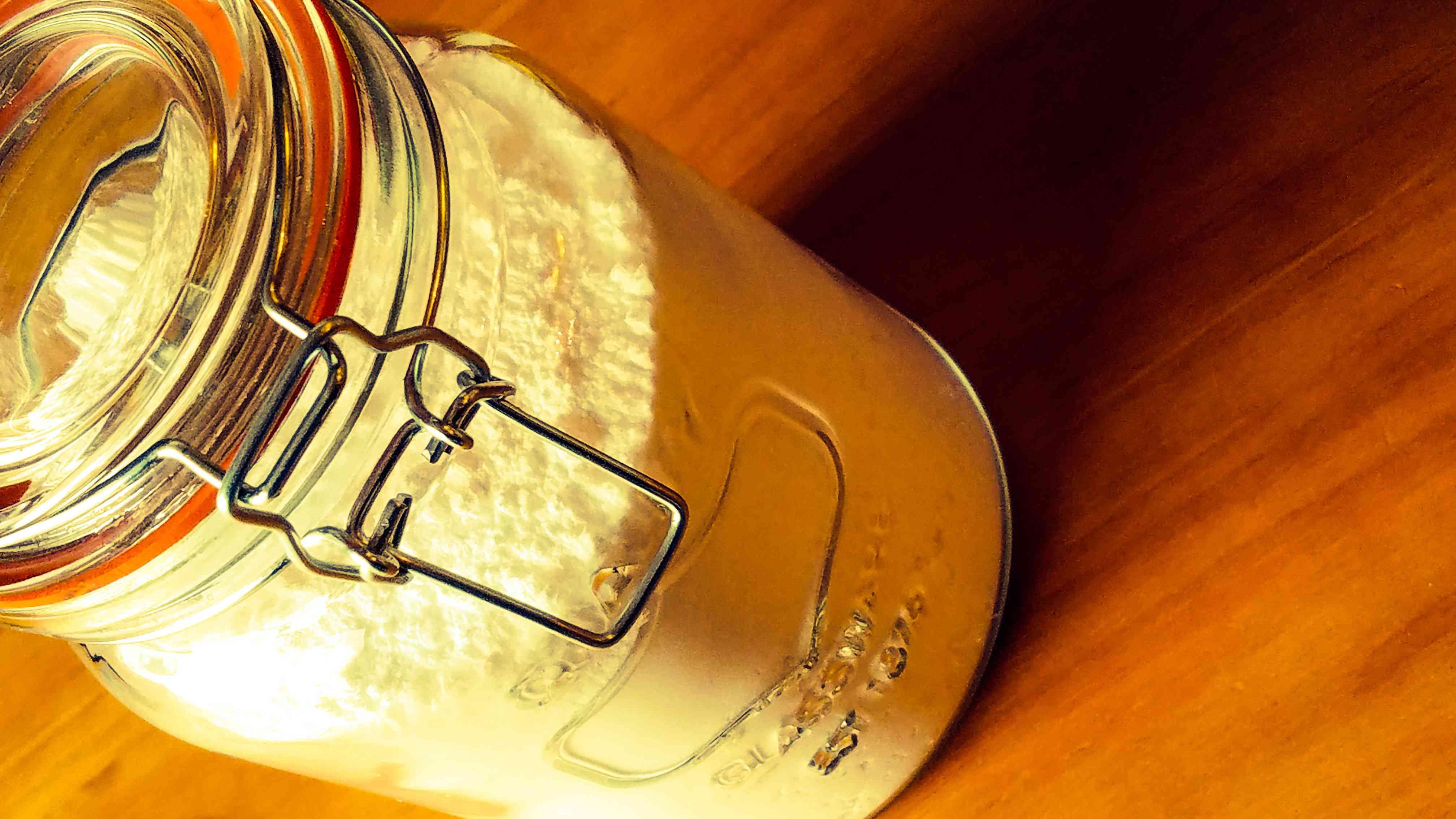 Powder ingredients in a mason jar.