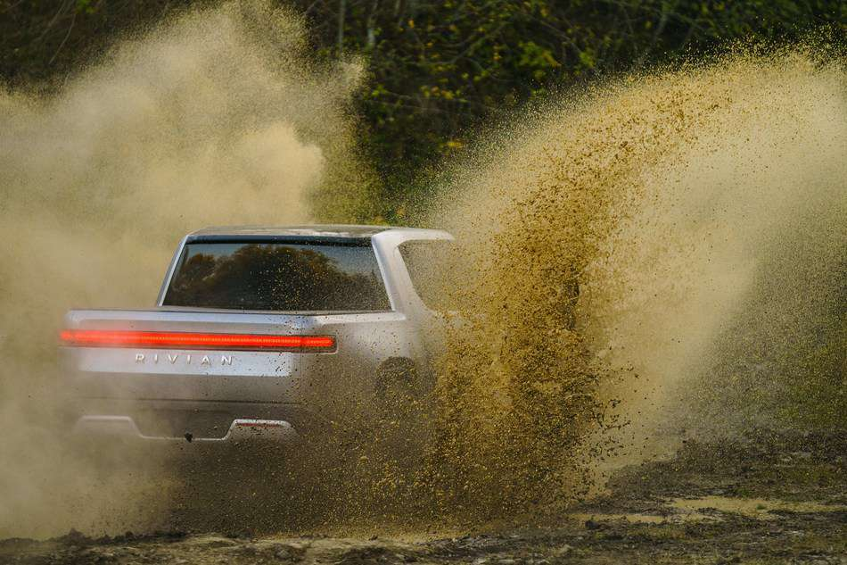 Rivian in mud