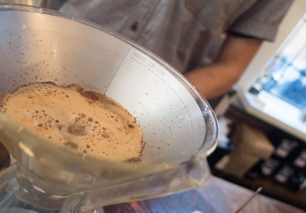 Reusable coffee filter being used in a pour over coffee maker