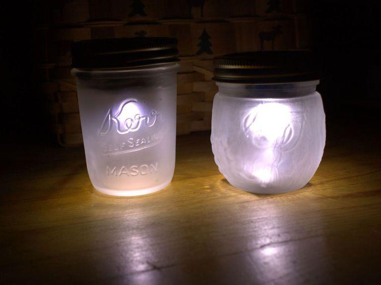 Mason jars turned into small solar lamps