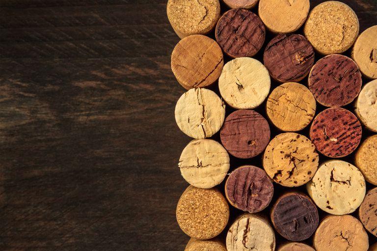 Corks on a hardwood floor.