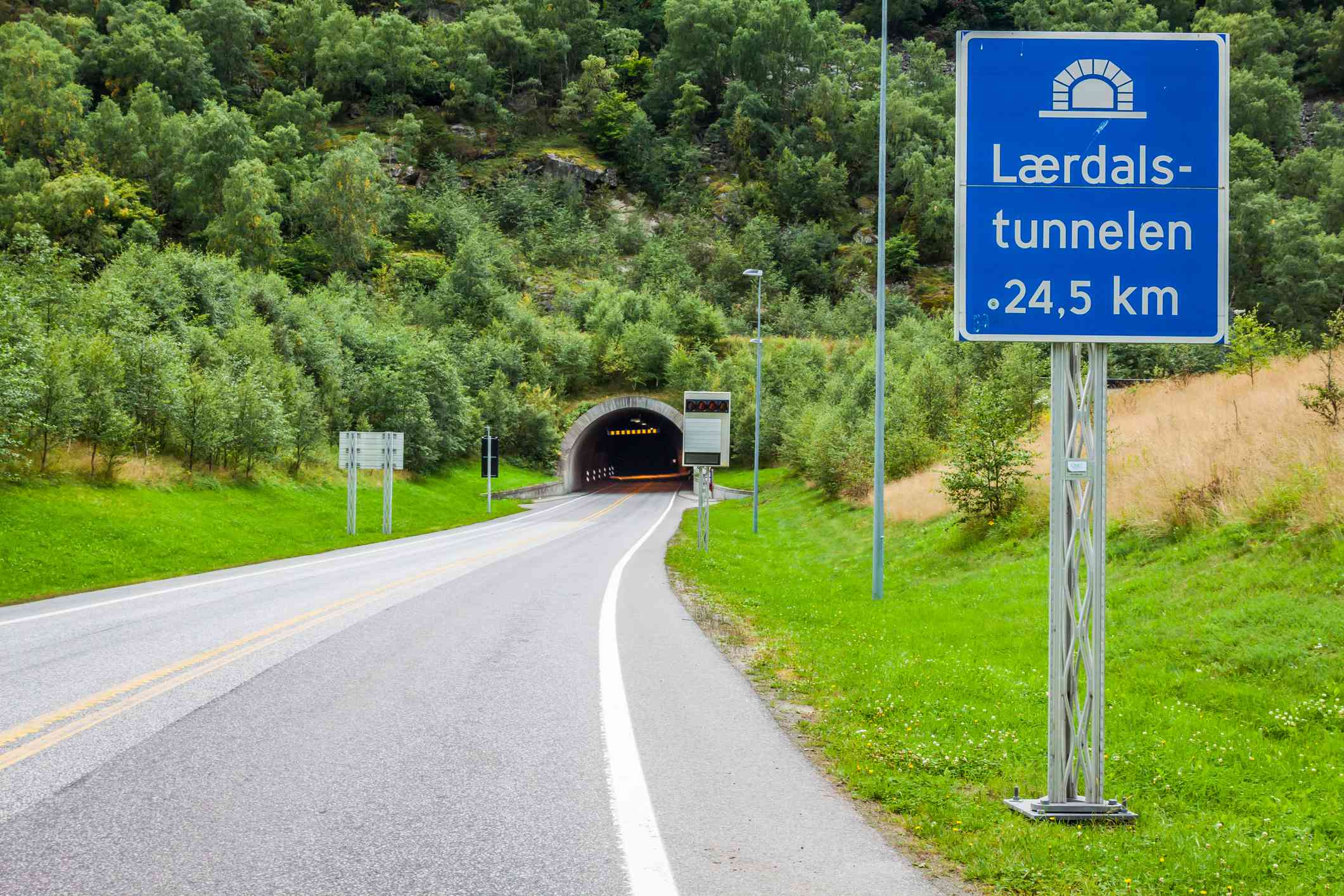 A sign announces the entrance to the Laerdal Tunnel in Norway
