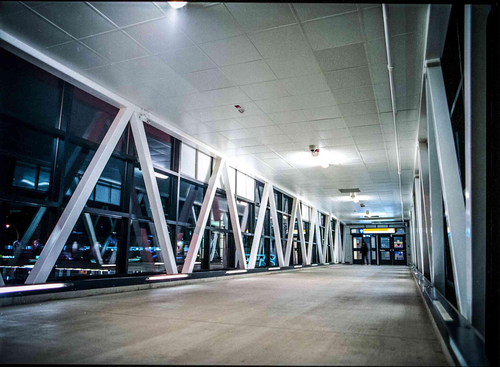 An Edmonton Pedway section at night.