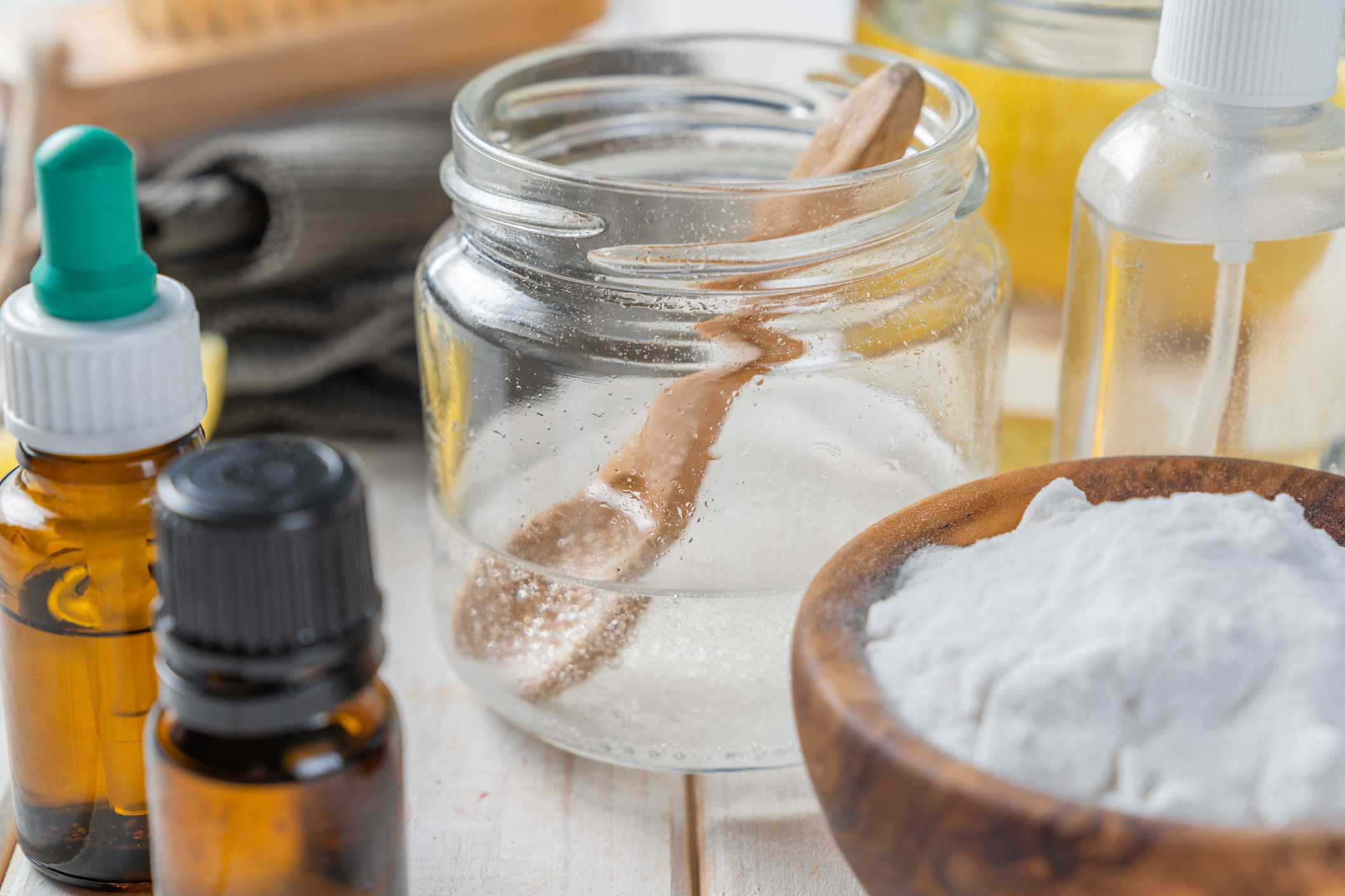 Cleaning ingredients including vinegar, oils and baking soda.
