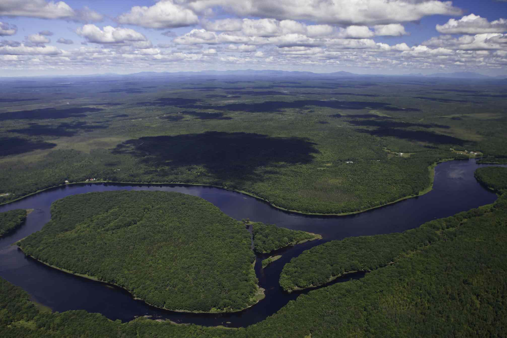 Aerial view of Penobscot River winding through forest
