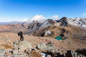 Hiker on the Mount Tongariro volcano on New Zealand's Te Araroa