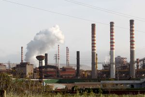 A view of the steel industry on April 30, 2021 in Taranto, Italy. Arcelormittal recently closed a deal with Invitalia to create a new public-private partnership and relaunch the group and the Taranto plant, which is the largest steel factory in Europe.