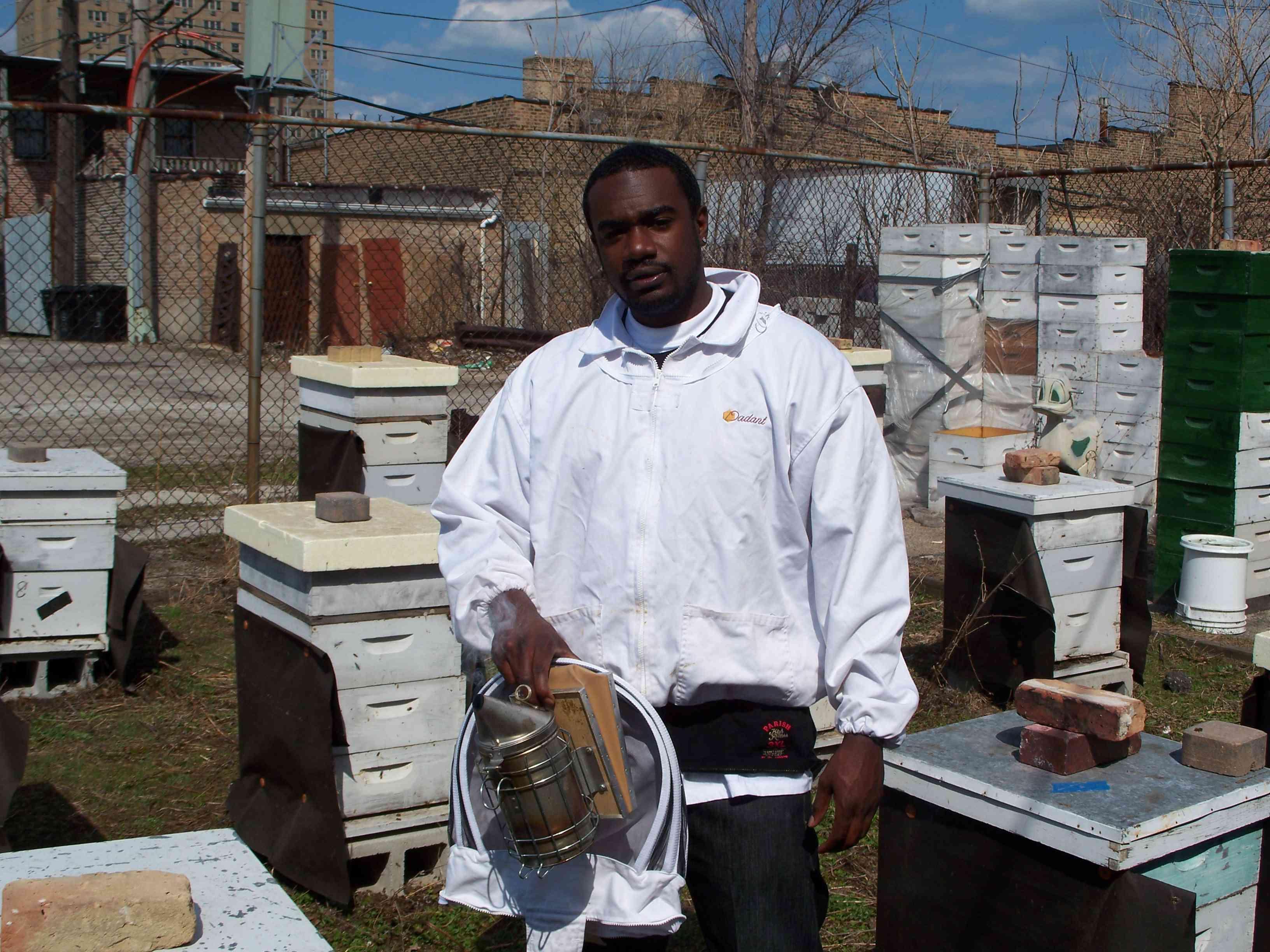 Kelvin in a bee suit at Sweet Beginnings