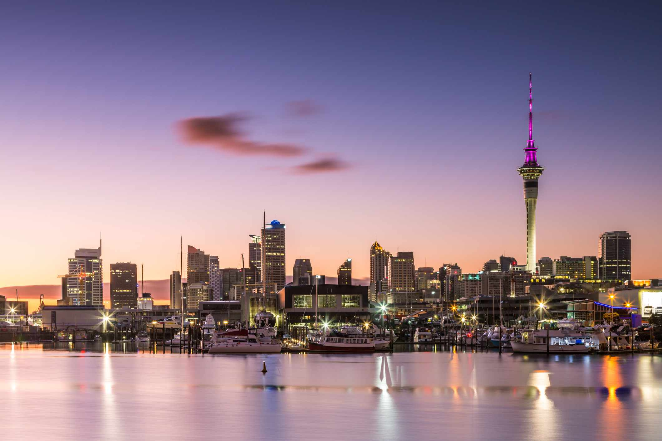 Downtown Auckland, New Zealand in the early morning