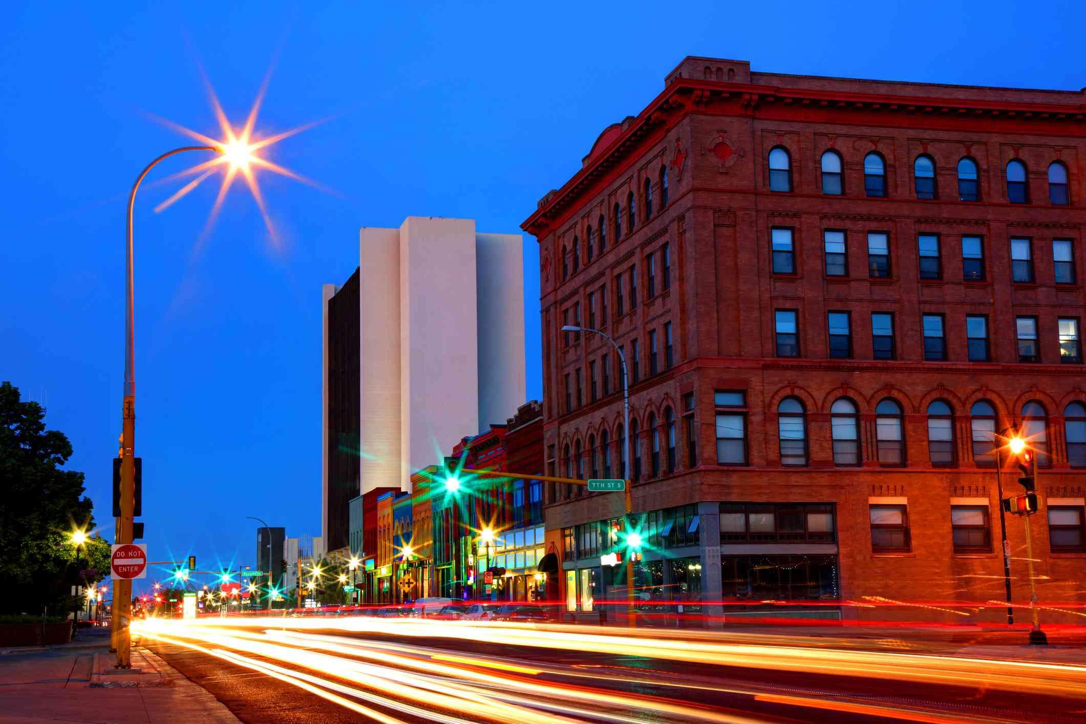 City of Fargo, North Dakota, at dusk
