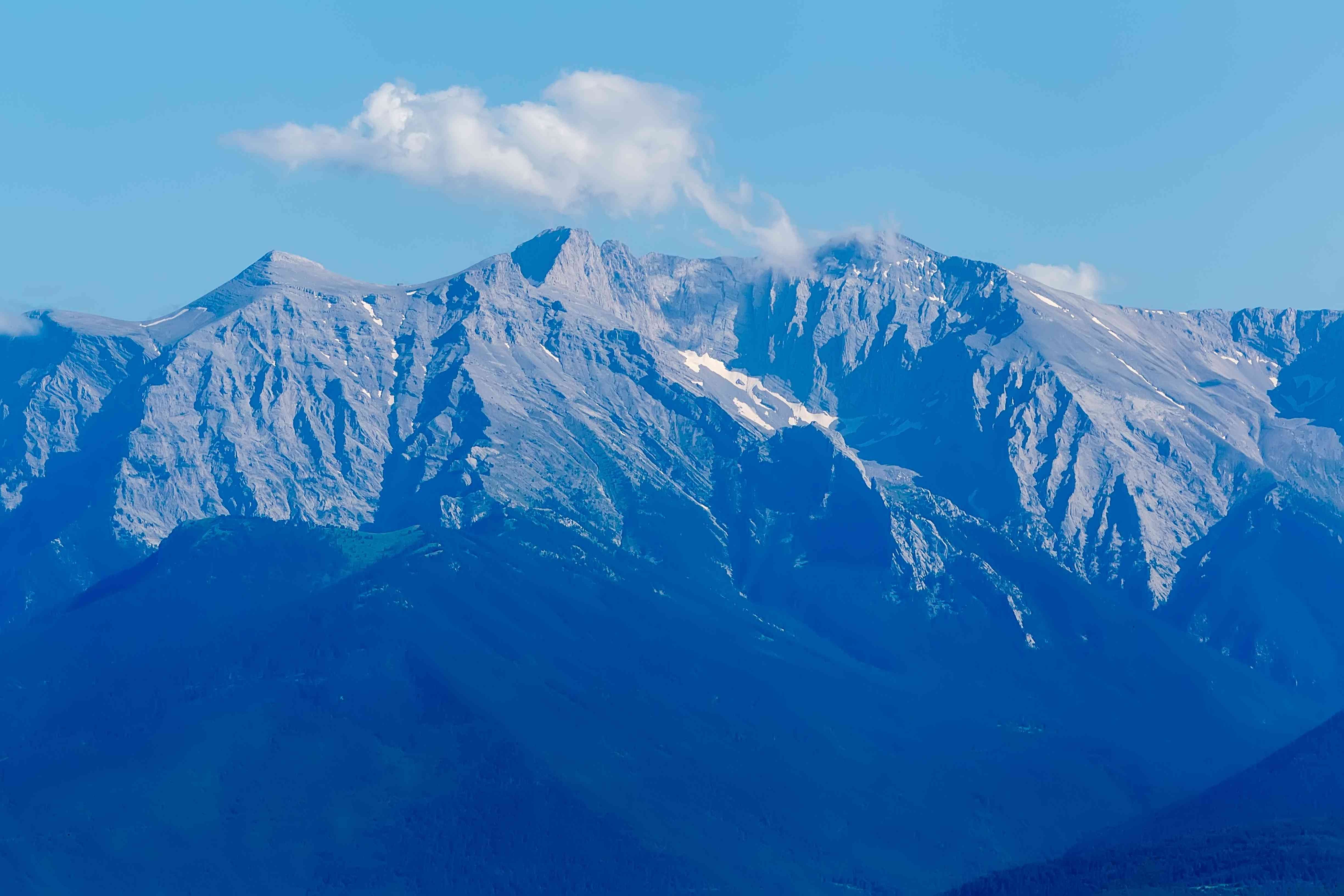 Mount Olympus on a blue-sky day