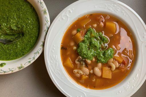 soup with pesto