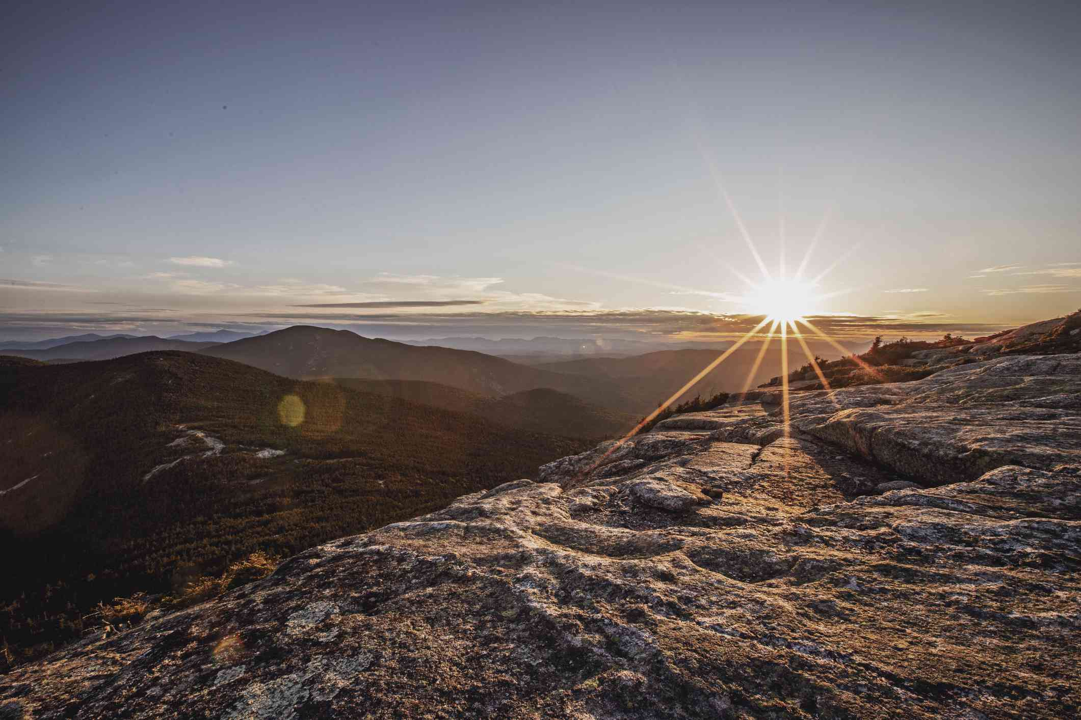 Sunset from summit of Baldpate Mountain, Appalachian Trial, Maine.
