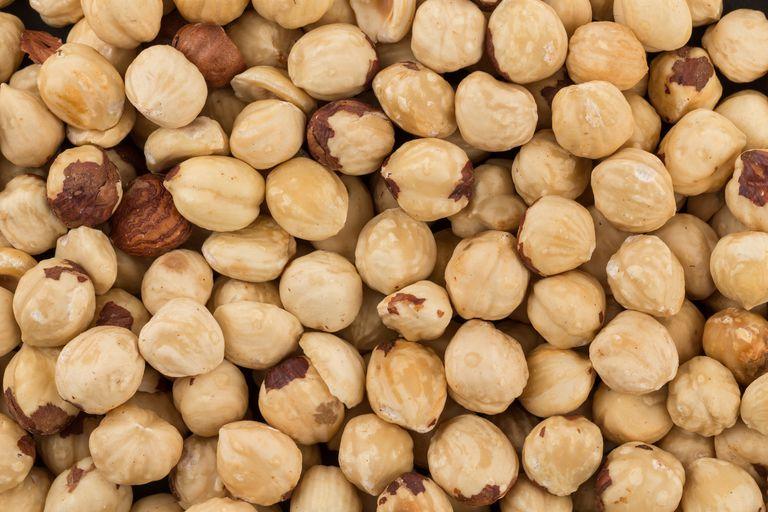 Pile of shelled hazelnuts
