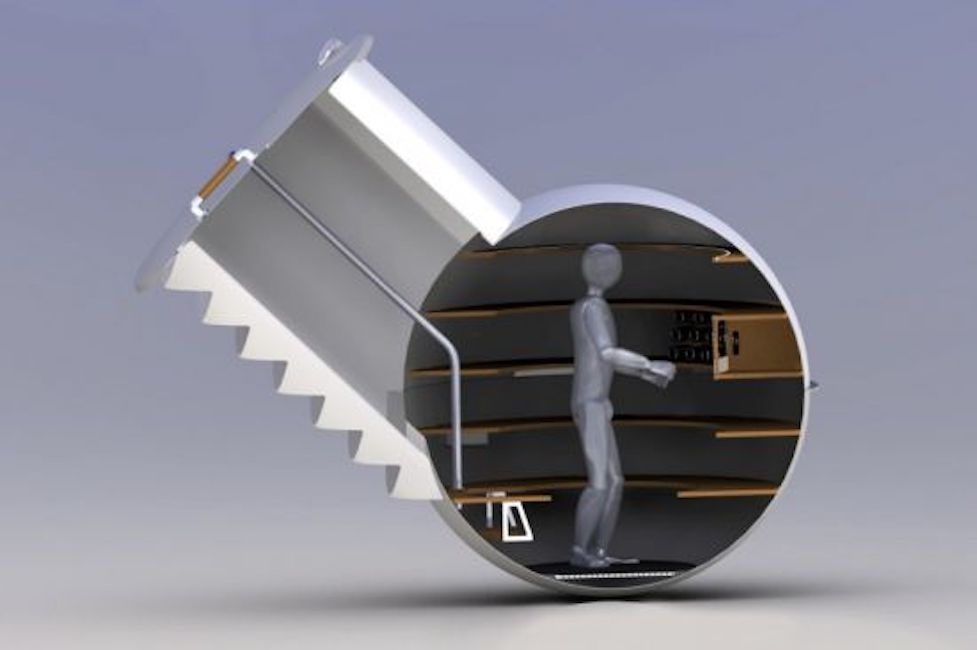 Rendering of a groundfridge with a cut open side view