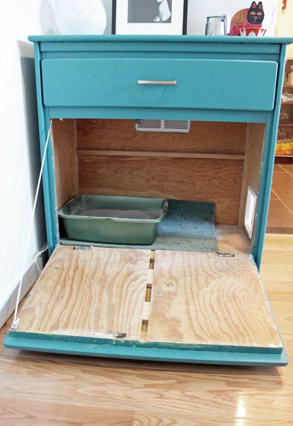 litter box hidden in dresser