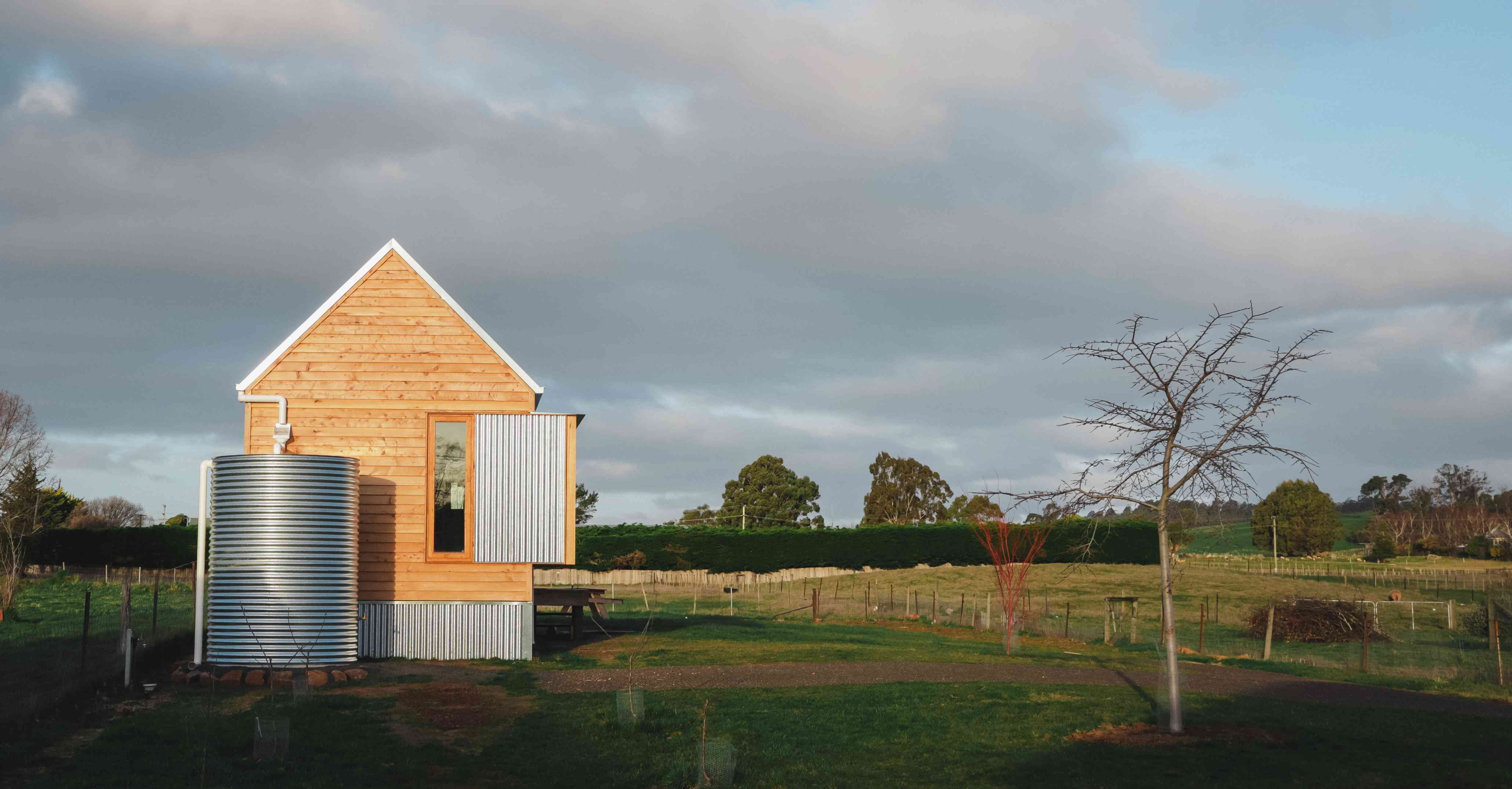 tasmanian house and clouds