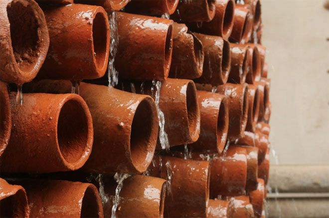 Closeup side view of terracotta tubes