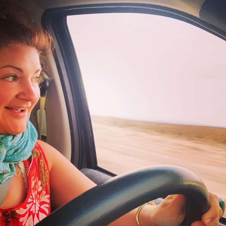 Starre Vartan driving through the northern desert in Baja, mexico.