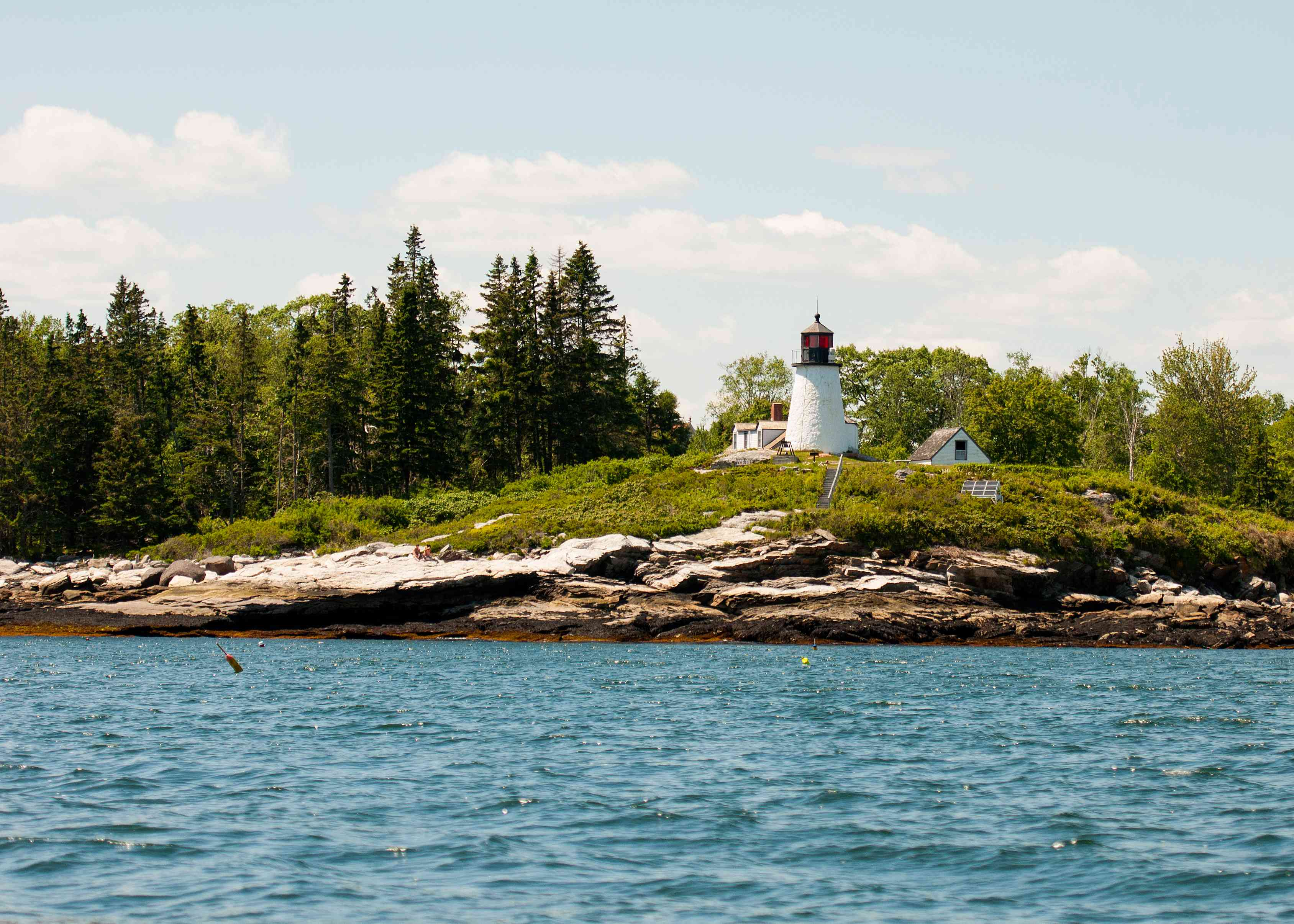 view of Burnt Island Lighthouse from the water