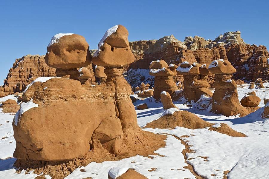 Snowy hoodoos in Goblin Valley