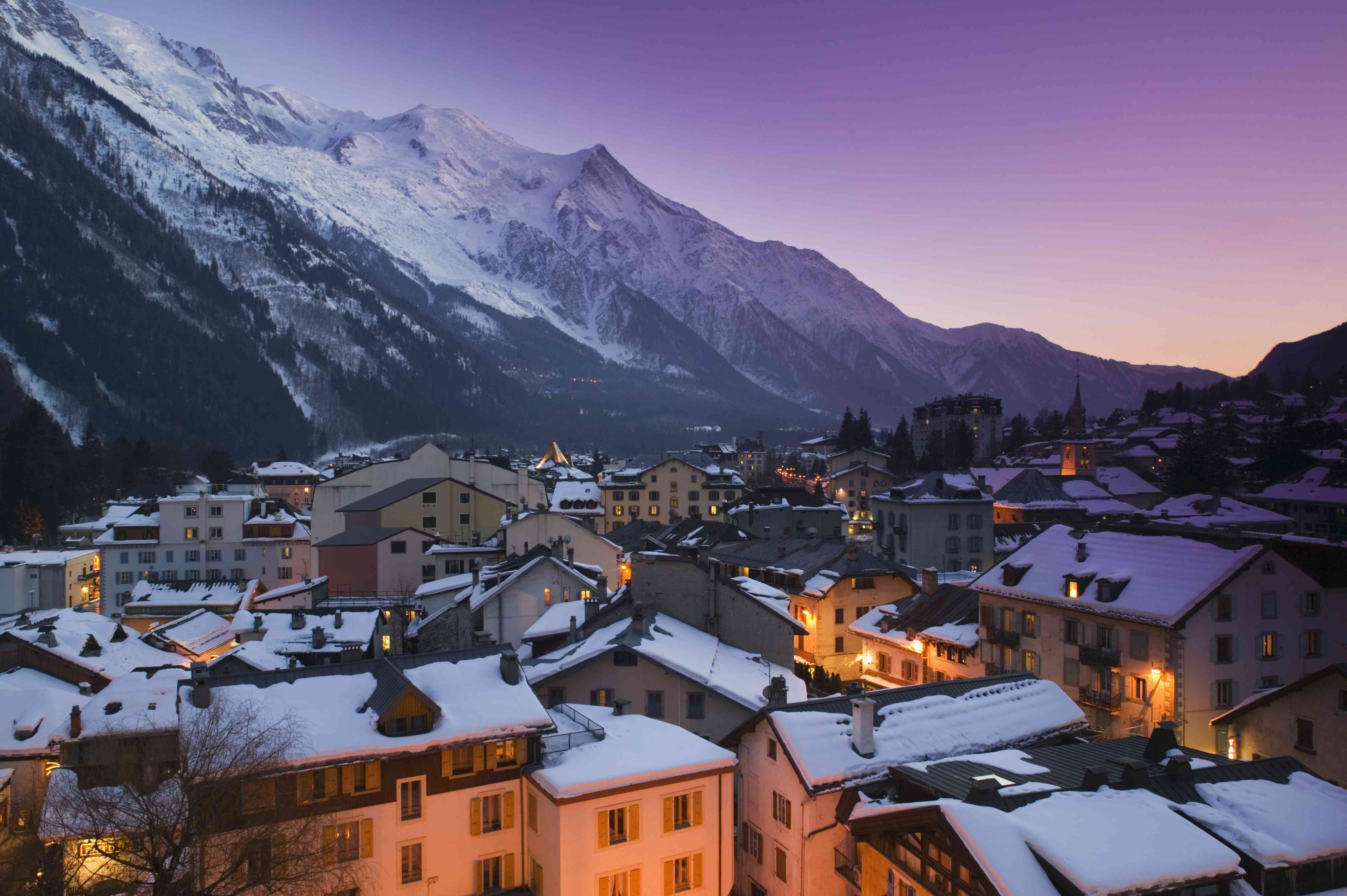 Snowy rooftops in Chamonix during a winter evening