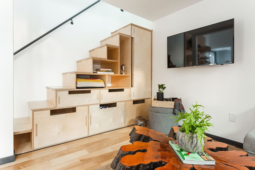Stair storage in the tiny home