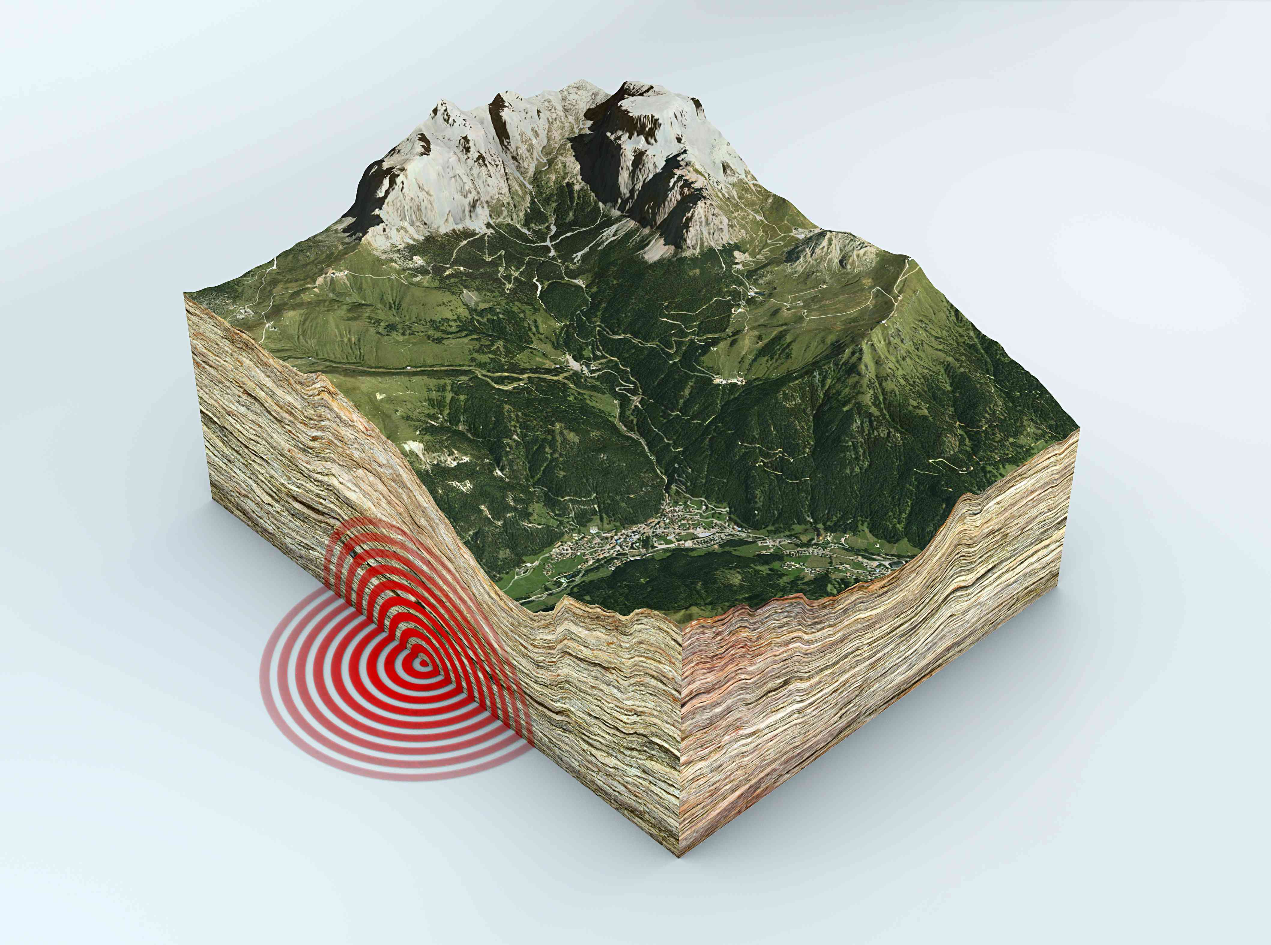 Tectonic plates show in cross-section of Earth