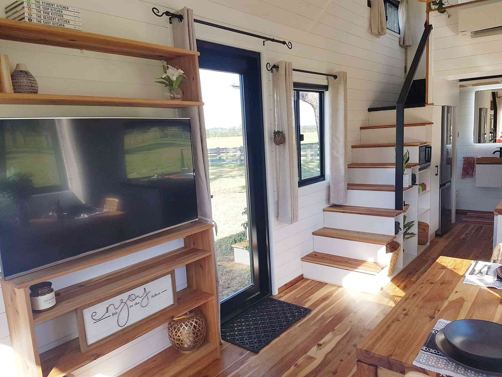 Sojourner Tiny House by Hauslein Tiny House Company stairs
