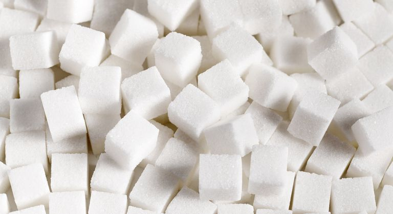 pile of unhealthy white sugar cubes