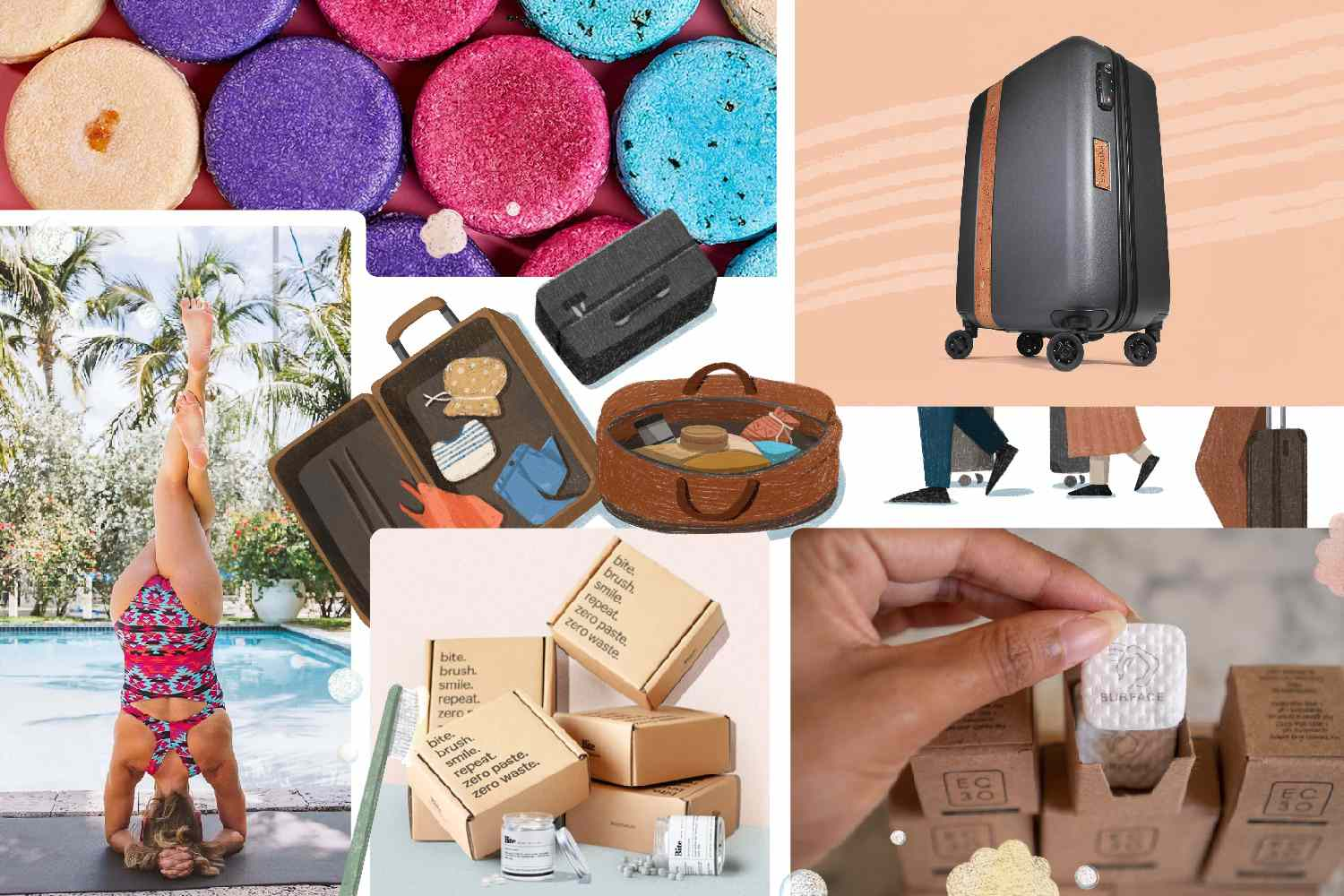 collage of travel products