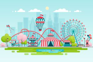 Illustration of an amusement park with ferris wheel and merry-go-round