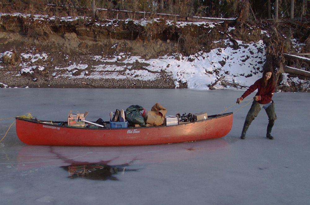 Suzanne's canoe on ice