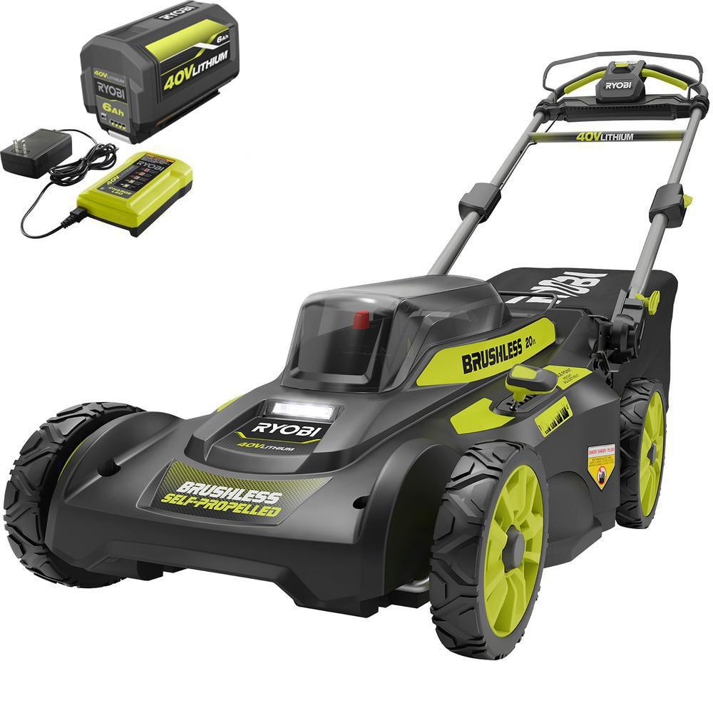 RYOBI 20 in. 40-Volt 6.0 Ah Lithium-Ion Battery Self-Propelled Lawn Mower