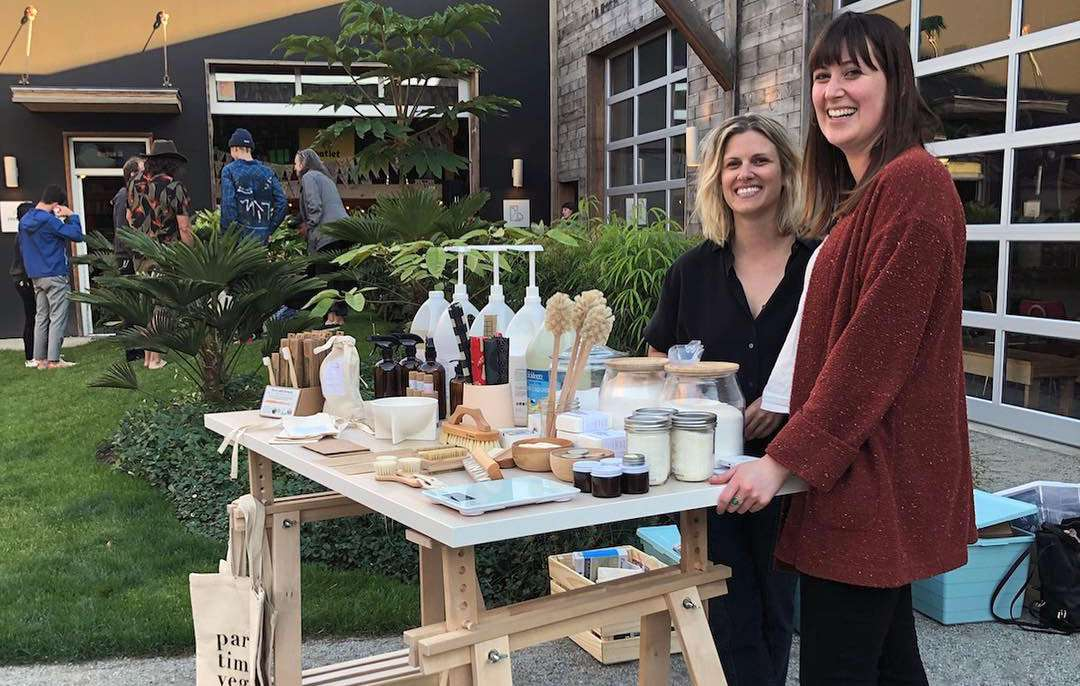 two woman at a zero-waste pop-up shop in portland, oregon