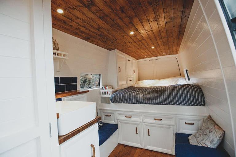 Bed and underbed storage in the van