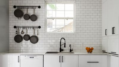 Kitchen sink with hanging pans