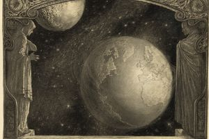 The Earth and the Milky Way and moon drawing by Wladyslaw T. Benda
