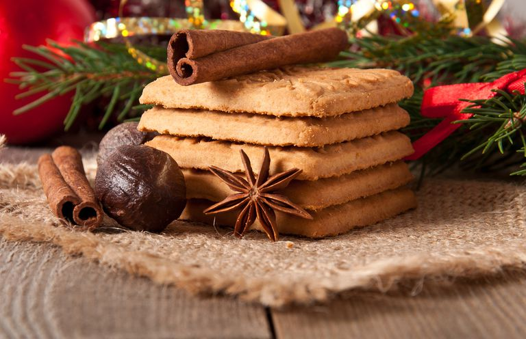 Holiday sweets in front of a pine branch