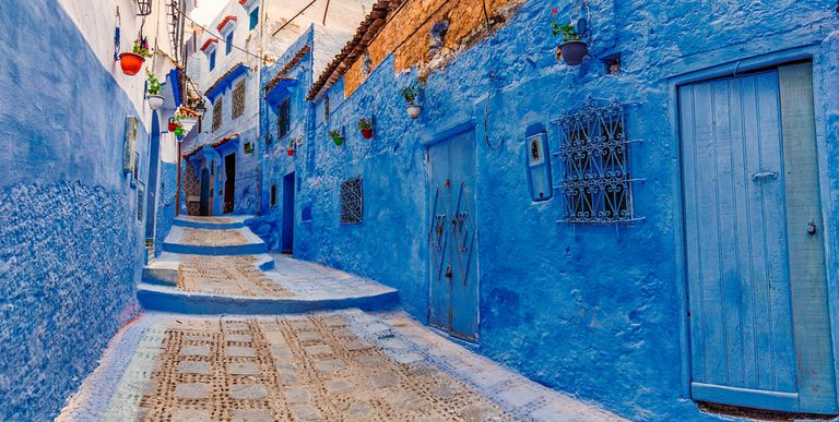Town full of bright blue buildings