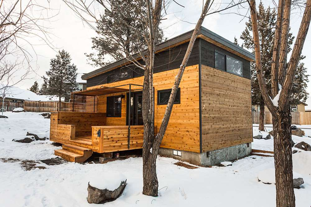 Exterior of the tiny house in winter