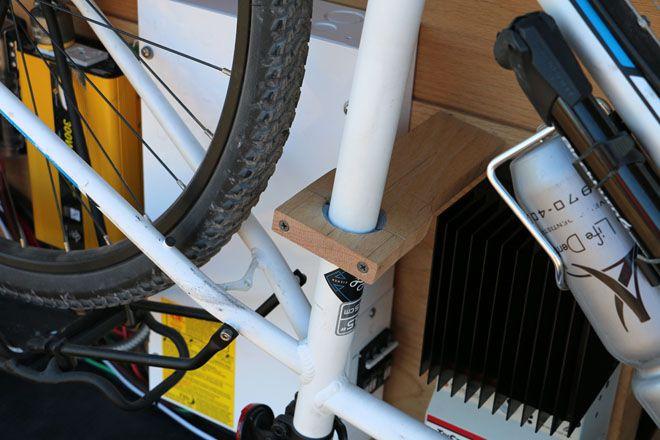 Close up of the bike rack