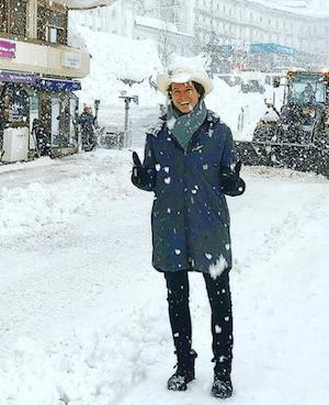 Musk standing in snow in Davos, Switzerland.