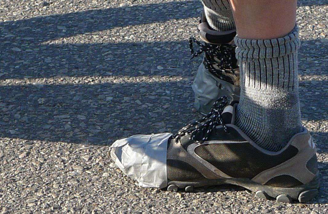 ventilated biking shoes duct tape