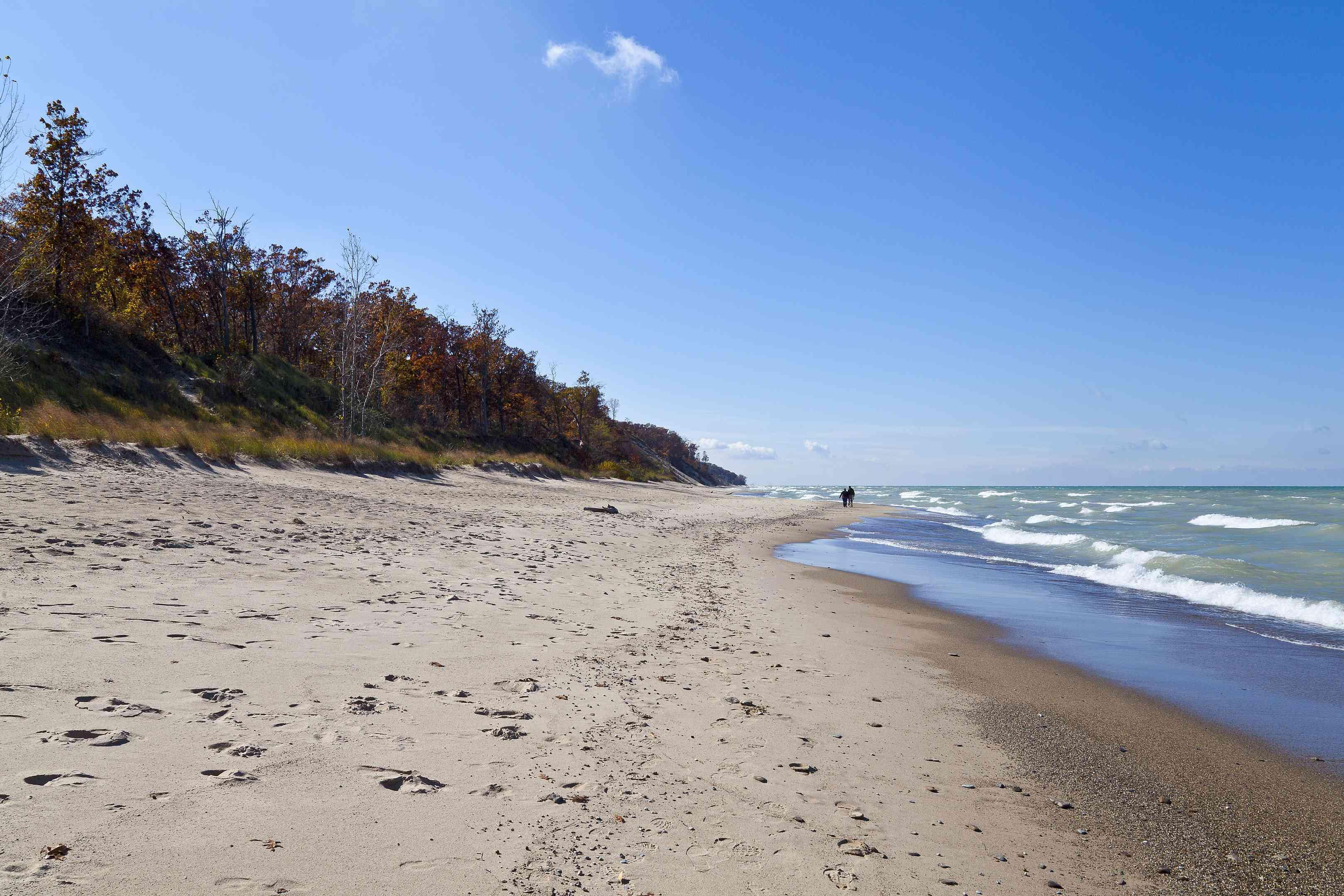 Indiana Dunes National Park shoreline of Lake Michigan