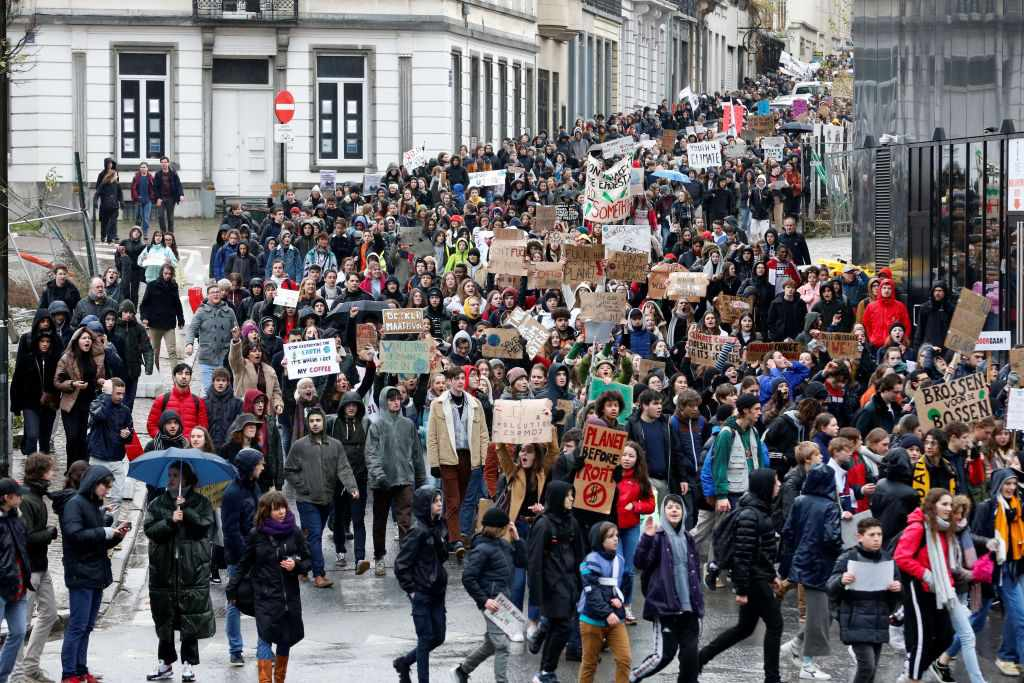 Students striking in Belgium