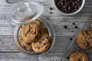 overhead shot glass jar with chocolate chip cookies