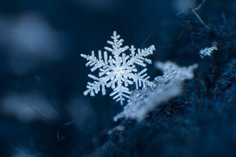 Snowflake on a dark blue background